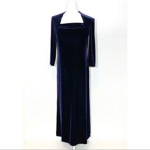 Vintage K.C. Spencer Navy Velvet Maxi Dress